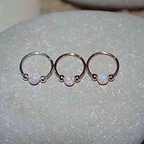 White Opal Nose Ring - Gold Nose Piercing - Tragus Hoop - Forward Helix Earring - Daith Earring - Septum 20g