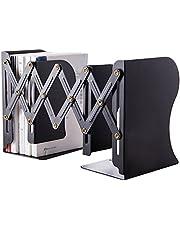 Hiveseen 本立て ブックスタンド伸縮型 金属製 仕切りスタンド 卓上収納 雑誌/新聞/書類入 オフィス 黒 【1年間保証・正規品】