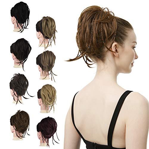 FESHFEN Haargummi mit Haaren, Haarteil Haargummi Hochsteckfrisuren Unordentlich Dutt Haarteil Haarverlängerung mit Zusätzlichen Haarzöpfen Messy Hair Bun Extensions, 55g