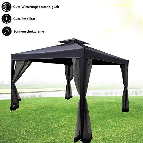 Froadp Gartenpavillon 3x3m Doppelstöckige Dachkonstruktion Pavillon mit Insektschutz Netz Sonnenschutz Festzelt Markisen für Garten Hochzeit Bierzelt(Anthrazit)