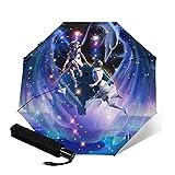 MISS KANG Paraguas AUTOMÁTICO AUTOMÁTICO AUTOMÁTICO EVILLO AUTOMÁTICO 3-PLOTE Zodiaco Impresión 3D Acuario (Star) Sombrilla clásica al Aire Libre (Color: Púrpura) Qingchunw (Color : Purple)