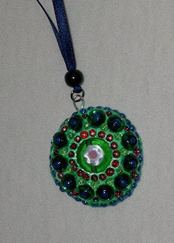 Schmuckanhänger Amulett grün-bunt mit Halskette Satinkette