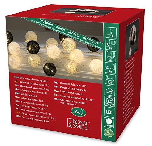 Konstsmide LED guirnalda, negro/gris/blanco de algodón bolas, grande, 16 diodos de luz blanca cálida, 24 V transformador interno, cable transparente 3136-573