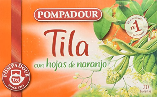 Pompadour Té Infusion Tila con Hojas de Naranja - 20 Bolsitas