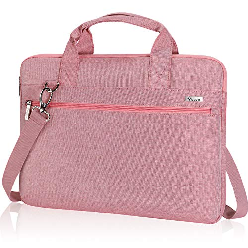 """Voova 360° Protective Laptop Bag Case 14-15.6 Inch for Women Girls, Slim Computer Sleeve Compatible with MacBook Pro 15/16 2020, 15"""" Surface Book 3/2, HP Pavilion, ASUS Acer Samsung Chromebook, Pink"""