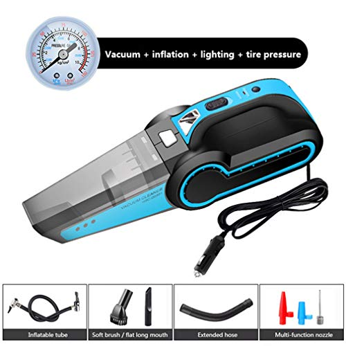 4 in 1 krachtige auto stofzuiger 120W 4500Pa multifunctionele elektrische luchtpomp digitale bandenpomp voor auto, Met verlichting Licht Lamp,Blue,A