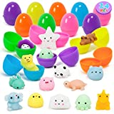 YIHONG 24 Pcs Easter Eggs Prefilled with Mochi Squishy Toys, Surprise Eggs Filled Kawaii Kids Toys for Easter Hunt, Basket Stuffers, Easter Party Favor