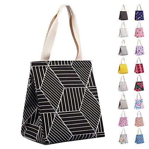 Insulated Lunch Bag for Women, Durable Wide-Open Foldable & Portable Lunch Tote with Interior Pockets, Water-resistant Thermal Lunch Cooler for Adults & Kids Picnic Office Beach School-IKNOE Black