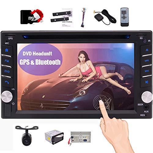 In Dash Car Stereo Bluetooth Headunit Doppel-DIN-Autoradio-Empf?nger mit GPS-Navigation 6.2 Zoll kapazitive Touchscreen 2 din Video DVD CD-Players Sat Navi-Entertainment-System Free Reverse-Kamera