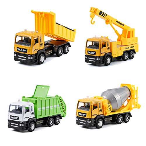4-in-1 Toy Trucks Set Including Garbage Truck Crane Truck Dump Truck Concrete Construction Truck wiht Light and Sound Pull Back Vehicles Toy Trucks for Kids Age 3,4,5,6,7 (4 in 1)