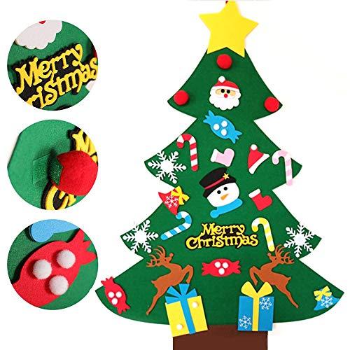 Amacoam Albero Natale Feltro 3ft DIY Albero di Natale da Parete Albero di Natale di Feltro Bambini con Ornamenti Staccabili Regali di Natale di Nuovo Anno per la Decorazione della Parete del Portello