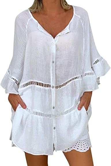 Vectry Camisa Mujer Tallas Grandes para Mujer Algodón Liso Y Lino Hollow out Jersey con Cuello En V Top Camisa Camisa Otoño Verano Playa Y Fiesta