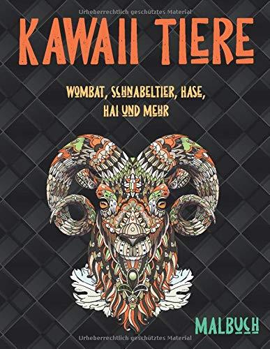 Kawaii Tiere - Malbuch - Wombat, Schnabeltier, Hase, Hai und mehr 🐼 🐫 🐵 🐘 🐒 🐨 🐦