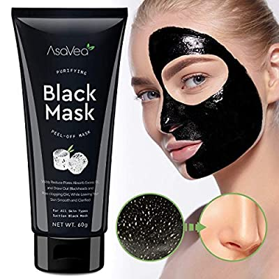 Gemmaz Black Mask Peel off Mask, Charcoal Purifying Blackhead Remover Mask Deep Cleansing for Acne & Acne Scars, Blemishes, Anti-Aging, Wrinkles, Organic Activated Charcoal