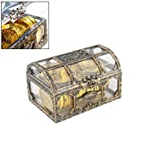 DealMux Cofre del tesoro Cofre del tesoro Monedas de oro pirata Juego de juguete del tesoro pirata para pepitas de oro Cofre del tesoro pirata Piedras preciosas Cofre de madera lleno de dinero Moneda
