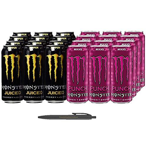 1x12 Monster Ripper Juiced und 1x12 Monster Punch Mixxd (Insgesamt 24 Einweg-Dosen x 0,5 L) Inkl. Gratis FiveStar Kugelschreiber