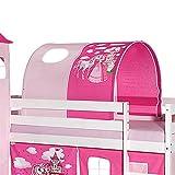 IDIMEX Tunnel Tente pour lit surélevé superposé mi-Hauteur Mezzanine Tissu Coton Motif Princesse Rose