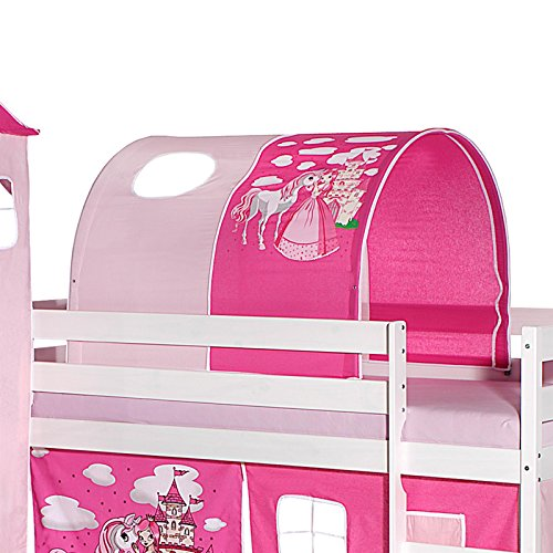 IDIMEX Tunnel für Hochbett Prinzessin Rutschbett Spielbett Kinderbett in pink/rosa