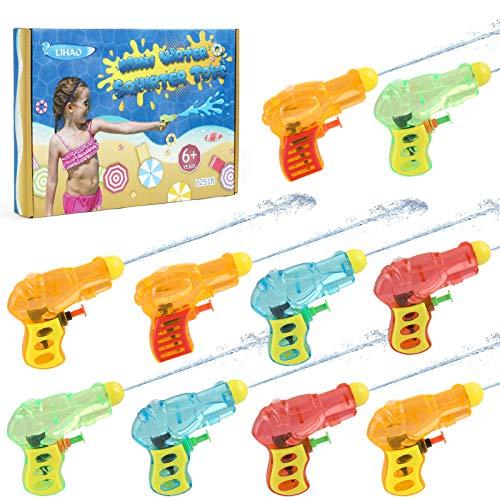 LIHAO 10 x Wasserpistole Mini Wasserblaster Klein Spritzpistole Wasser Spielzeug für Kinder Jungen Mädchen zum Sommerpartys Wassersport (MEHRWEG)