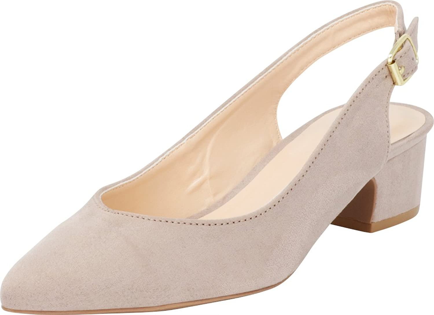 Cambridge Select Women's Closed Pointed Toe Buckled Slingback Chunky Block Mid Heel Pump