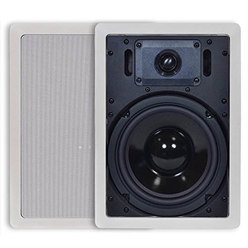 InstallerParts 8 Inch 2-Way in-Ceiling/in-Wall Speakers - Premium Home Stereo Speakers - White