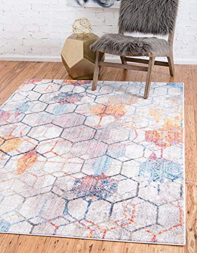 Unique Loom Rainbow Collection Geometric Abstract Trellis Modern Watercolor White Area Rug (3' 3 x 5' 3)