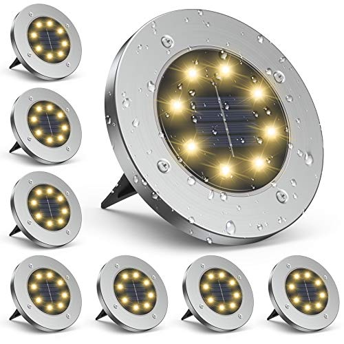 Solar Bodenleuchten, infray solarlampen für Außen, Solarleuchten Solarlampen Gartenleuchten mit 8 LED, Solarlicht Garten Licht, IP65 Wasserdicht für Weg, Garten, Rasen, Patio und Hof, warmweiß, 8er