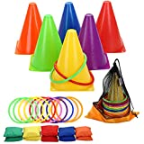 Win SPORTS 3 in 1 Carnival Outdoor Games Combo Set,Soft Plastic Cones Cornhole Bean Bags Ring Toss Game for...
