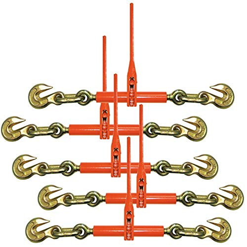 VULCAN Ratchet Style Load Binder with 2 Grab Hooks, 5 Pack - Classic - 9,200 Pound Safe Working Load (for 3/8 Inch Grade 70 Or 1/2 Inch Grade 43 Chain)