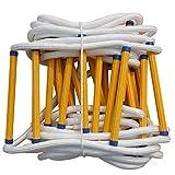 Escalera lateral de cuerda de escape, escalera de cuerda de seguridad resistente a las llamas, escalera blanda Rápida de desplegar y fácil de usar, para niños y adultos Escape de ventana y balcón Ant