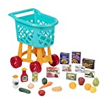Battat - Grocery Cart – Deluxe Toy Shopping Cart with Pretend Play Food Accessories for Kids 3+ (23Piece), Blue
