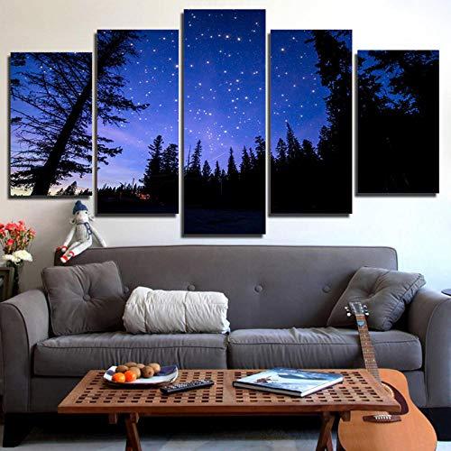 IGZAKER HD Stampa Wall Art 5 Pezzi Foresta Bella Cielo Stellato Vista Notturna Pittura Decor Soggiorno Senza Cornice Tela Picture Poster @ 30X40,30X60,30X80Cm