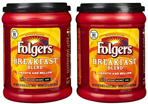 Fresh Taste of Folgers Coffee, Breakfast Blend, Smooth and Mellow Ground Coffee, Mild Flavor, 10.8 Oz Canister - (2 pk)
