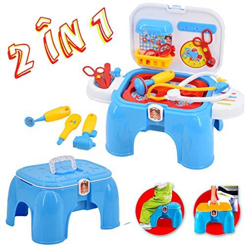 deAO 2-in-1 draagbare medische draagkoffer met kruk en accessoires inbegrepen - geweldig cadeau voor kinderen