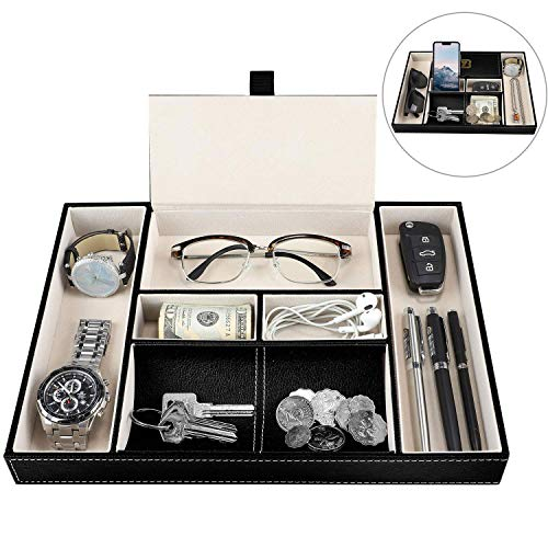 Baoyun Mens Valet Tray Organizer - Leather Men's EDC Tray and nightstand Dresser Organizer for Phone Jewelry Key Wallet Black …