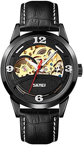 QHG Relojes de Hombres de Negocios Relojes para Hombres creativos Estilo de Novio Reloj de Pulsera Lujo Correa de Cuero Genuino de Lujo Relojes mecánicos automáticos (Color : Black)