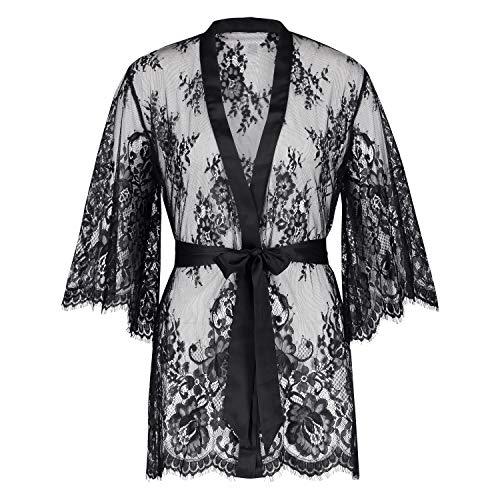 HUNKEMÖLLER Damen Kimono Isabelle aus transparenter Spitzenseide als Detail, mit weiten Ärmeln und Gürtel Schwarz XS/S