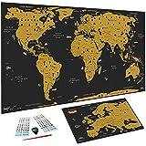 WIDETA Carte du monde à gratter Français, (82 x 43 cm)/ Poster plastifié extra épais 300 g/m2 / Inclus carte d' Europe et accessoires de grattage