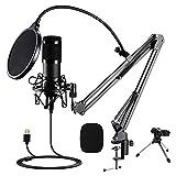 SNOWINSPRING Condensadores de Estudio, MicróFono de Estudio Cardioide para Podcasts con Soporte de Brazo Ajustable, MicróFono de Juego Plug y