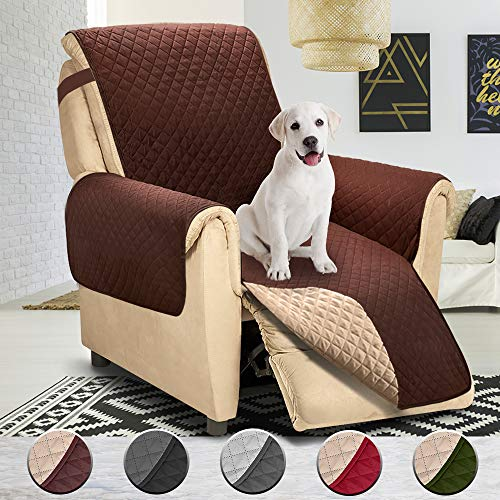 Reversible Large Recliner Cover, Seat Width to 30 Inch, Slipcovers for Recliner, Recliner Chair Cover,Pet Cover for Recliner,Machine Washable(Recliner Oversized:Chocolate Beige)