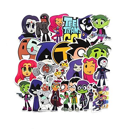 BLOUR 26 Stück/Los American Comic Teen Titans Go Aufkleber für Snowboard Laptop Gepäck Auto Kühlschrank Motorrad Helm Auto-Styling Aufkleber