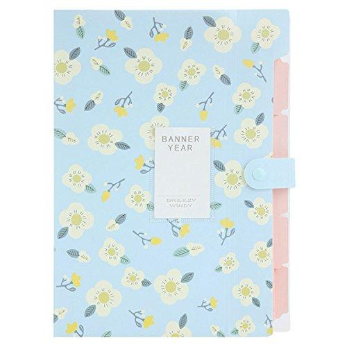 Gesh Carpeta de documentos de acordeón con estampado floral y organizador de cartas (azul)