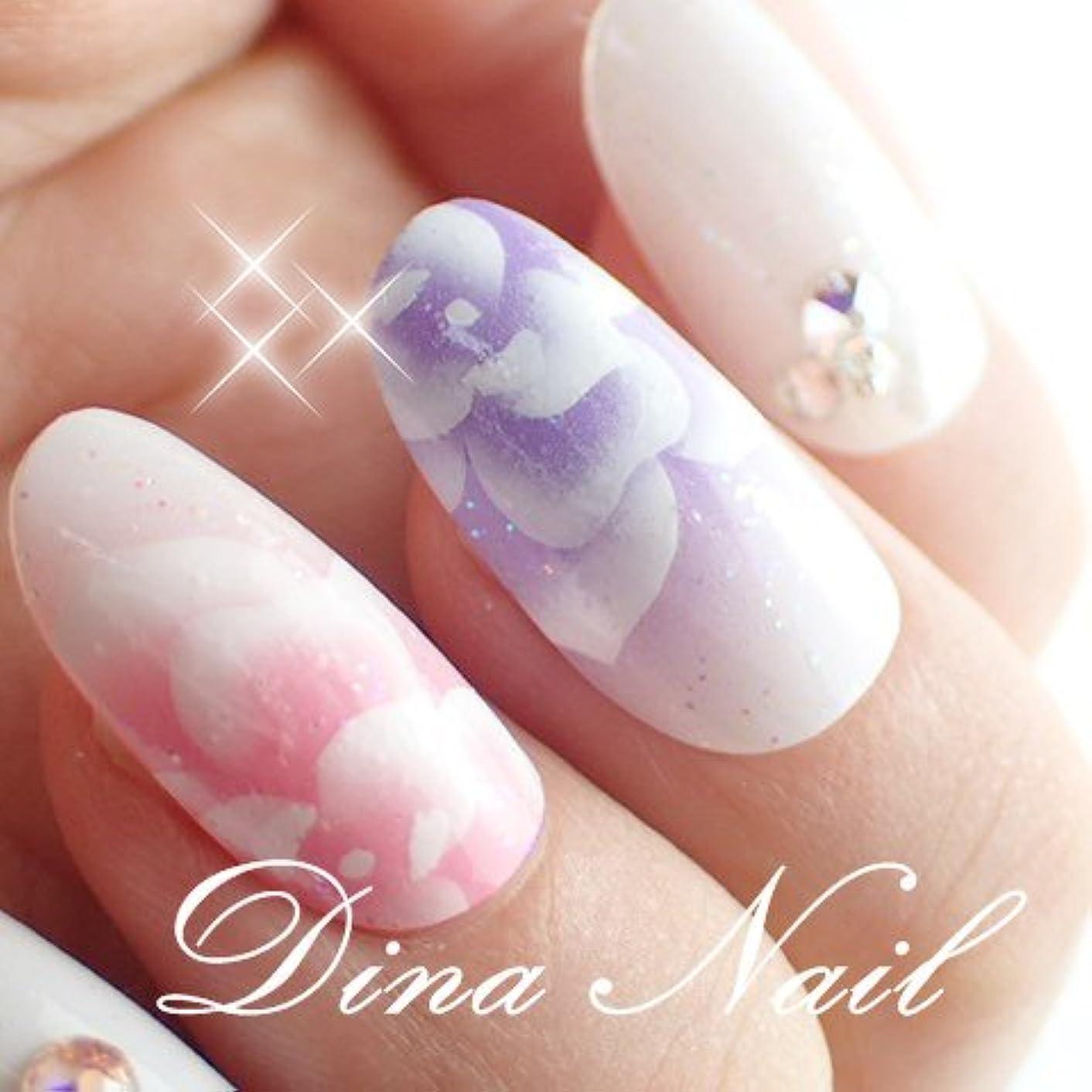 DINAネイル ピンクパープル薔薇  ショートオーバルM(25468番) ネイルチップ