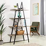 Glitzhome 4-Tier Industrial Bookshelf Modern A Frame Ladder Shelf Freestanding Plant Stand Wood Metal Frame Bookcase Open Shelf Display Rack Storage Organizer for Home Office-Rustic Oak/Black