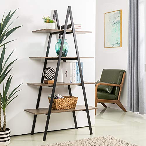 Glitzhome 4-Tier Wood Ladder Bookcase Modern A Frame Ladder Display Shelf A Shape Industrial Display Shelf Ladder Storage Rack Freestanding Bookshelf with Metal Frame for Home Office-Rustic Oak/Black