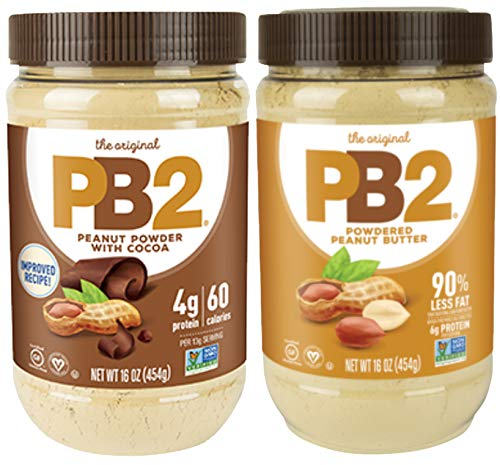 Bell Plantation Powdered PB2 Bundle: 1 Peanut Butter and 1 Chocolate Peanut Butter, 1 lb Jar (2-pack)