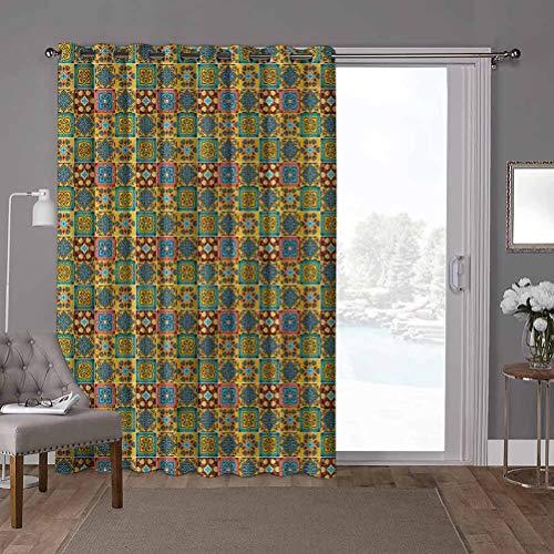 YUAZHOQI Cortinas opacas para ventana, tradicionales, mosaico Azulejo, 100 x 200 cm de ancho x 200 cm de largo persiana vertical para sala de estar (1 panel)