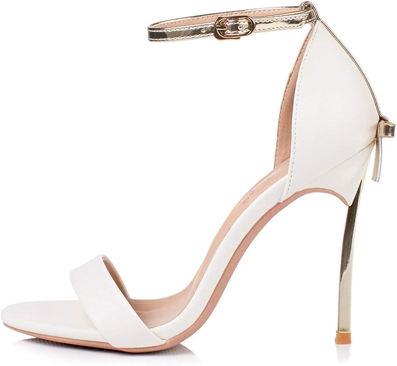 FengQingy FengQingy Farbeblock Bow High Heel Damen 10CM Metall High Heel Sandalen (Farbe   Weiß, Größe   38donglu)  Outlet zum Verkauf