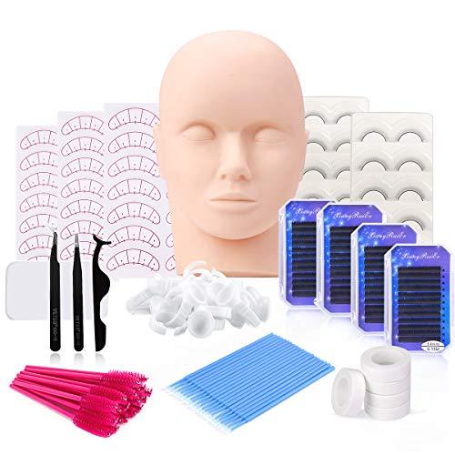 Eyelash Extension Kit, MYSWEETY False Eye Lashes Extension Training Tool Kit with Professional Mannequin Head for Massage, Tweezers, Glue Ring, Eyelash Brushes, 10 - in - 1 Set
