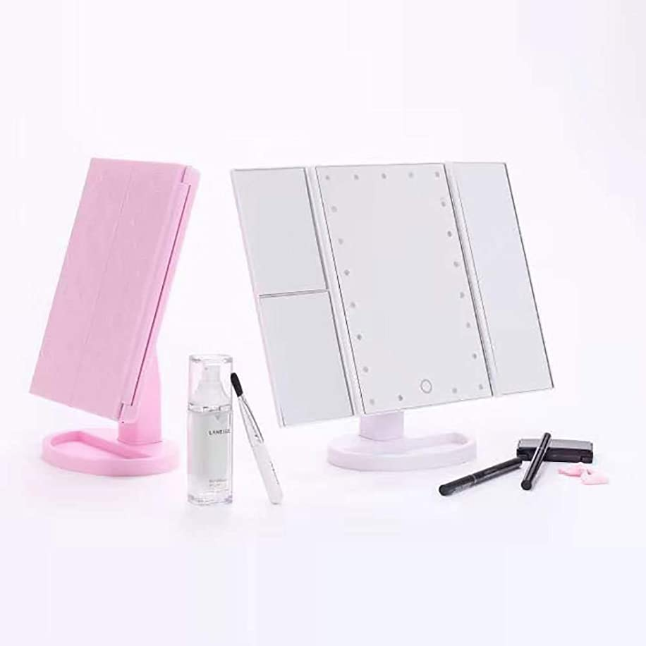 障害チャネル導体ライト付き化粧化粧台ミラー、24個のLEDライト付き3倍/ 2倍拡大化粧鏡,ピンク